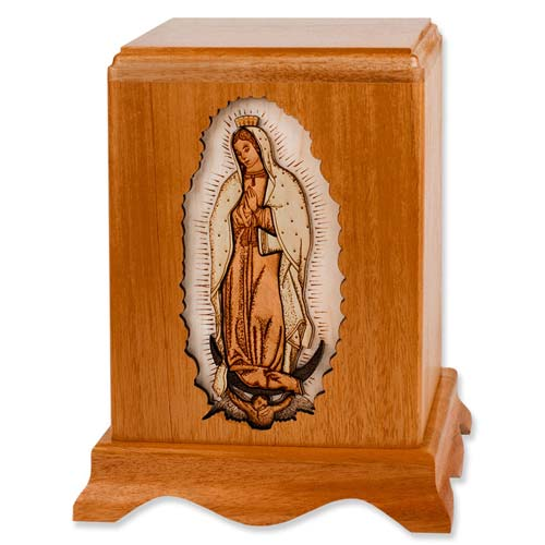 Urna de incinerare din lemn cu Doamna noastră