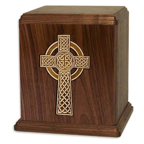 Urna de incinerare din lemn de nuc cu cruce Celtică